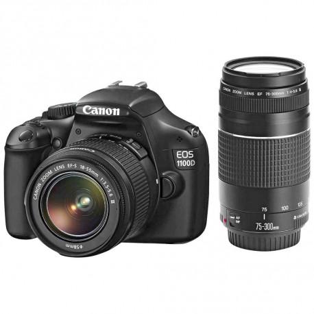 фотоапарат Canon EOS 1100D + обектив Canon 18-55mm F/3.5-5.6 DC III + обектив Canon 75-300mm f/4-5.6