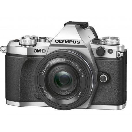фотоапарат Olympus OM-D E-M5 MARK II (сребрист) + обектив Olympus ZD Micro 14-42mm f/3.5-5.6 EZ ED MSC (черен)