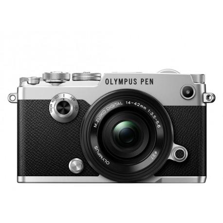 фотоапарат Olympus PEN-F (сребрист) + обектив Olympus ZD Micro 14-42mm f/3.5-5.6 EZ ED MSC (черен)