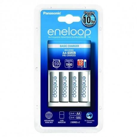 зарядно у-во Panasonic Eneloop Basic + 4 бр. AA + батерия Panasonic Eneloop AA 4 бр.