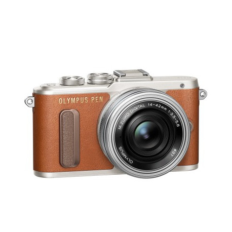 Olympus PEN E-PL8 (кафяв) + Lens Olympus ZD Micro 14-42mm f/3.5-5.6 EZ ED MSC (сребрист) + Lens Olympus MFT 40-150mm f/4-5.6 R MSC silver