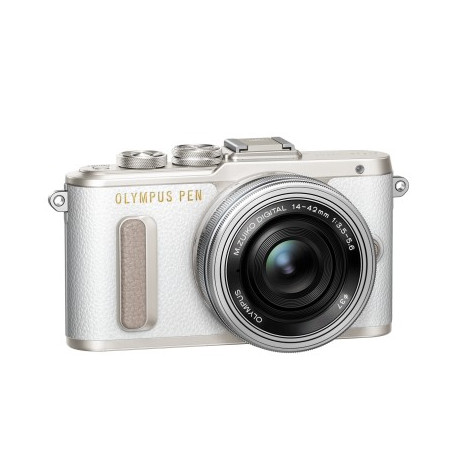 Olympus PEN E-PL8 (бял) + обектив Olympus ZD Micro 14-42mm f/3.5-5.6 EZ ED MSC (сребрист) + обектив Olympus MFT 40-150mm f/4-5.6 R MSC (черен)