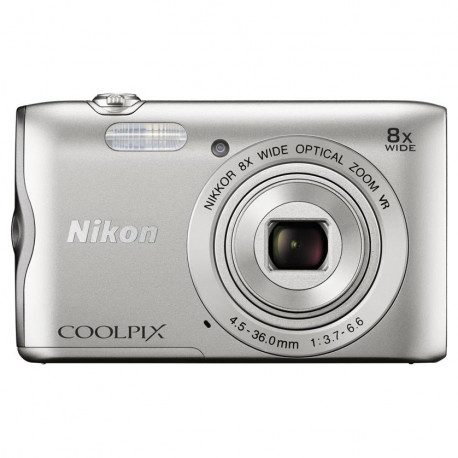 Nikon CoolPix A300 (сребрист) + калъф Case Logic + карта16 GB