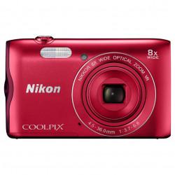 фотоапарат Nikon CoolPix A300 (червен) + калъф Case Logic + карта 16 GB