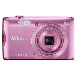 фотоапарат Nikon CoolPix A300 (розов) + калъф Case Logic + карта 16 GB