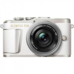 фотоапарат Olympus PEN E-PL9 (бял) + обектив Olympus ZD Micro 14-42mm f/3.5-5.6 EZ ED MSC (сребрист) + обектив Olympus MFT 45mm f/1.8 MSC