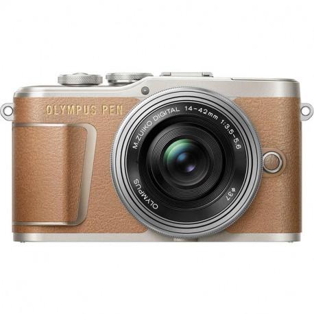 Olympus PEN E-PL9 (кафяв) + обектив Olympus ZD Micro 14-42mm f/3.5-5.6 EZ ED MSC (сребрист) + обектив Olympus MFT 45mm f/1.8 MSC
