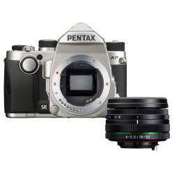 фотоапарат Pentax KP (сребрист) + обектив Pentax 18-50mm WR