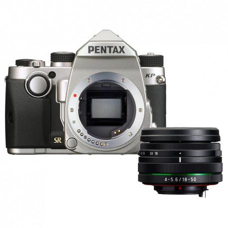 Pentax KP (сребрист) + обектив Pentax 18-50mm WR + обектив Pentax 50mm f/1.8 DA