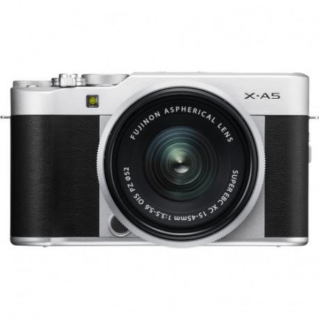 фотоапарат Fujifilm X-A5 (сребрист) + обектив Fujifilm Fujinon XC 15-45mm f/3.5-5.6 OIS PZ