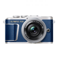 фотоапарат Olympus PEN E-PL9 (син) + обектив Olympus ZD Micro 14-42mm f/3.5-5.6 EZ ED MSC (сребрист) + аксесоар Olympus торбичка за апарат Hello Peacock + аксесоар Olympus каишка за през рамо Hello Peacock