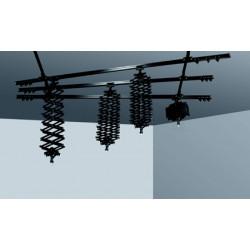 Dynaphos Rail system, 3 transverse, 2 longitudinal, 4 pantographs
