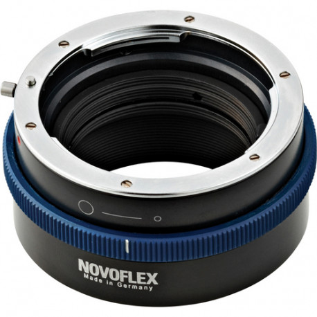 Novoflex Nikon F bayonet lens adapter to camera with Sony E bayonet