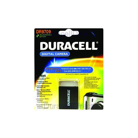 Duracell DR9709 equivalent to Panasonic CGA-S005 / DMW-BCC12