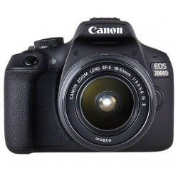 фотоапарат Canon EOS 2000D + обектив Canon EF-S 18-55mm f/3.5-5.6 IS + статив Joby Gorillapod 1K Kit мини статив + зарядно у-во Canon CA-PS700 Compact AC Power Adapter + аксесоар Canon DR-E10 DC Coupler