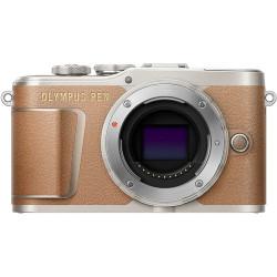 фотоапарат Olympus PEN E-PL9 (кафяв) + обектив Olympus ZD Micro 45mm f/1.8 MSC (черен)