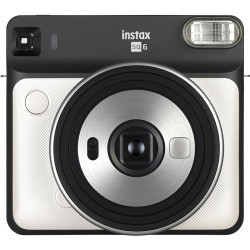 фотоапарат за моментални снимки Fujifilm Instax Square SQ6 (Pearl White) + фото филм Fujifilm Instax Square моментален филм (10 л.)