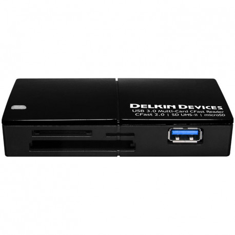 Delkin Devices DDREADER-48 CFast 2.0 / SD UHS-II / Micro SD Card Reader USB 3.0