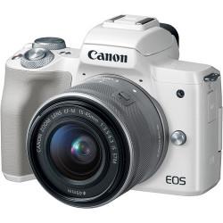 фотоапарат Canon EOS M50 (бял) + обектив Canon EF-M 15-45mm f/3.5-6.3 IS STM + микрофон Rode Videomic GO