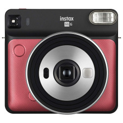 фотоапарат Fujifilm Instax Square SQ6 (Ruby Red) + фото филм Fujifilm Instax Square моментален филм - черна рамка (10 л.) + албум Fujifilm Instax SQ Album (Rose Golden)