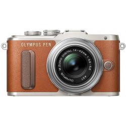фотоапарат Olympus PEN E-PL8 (кафяв) + обектив Olympus ZD Micro 14-42mm f/3.5-5.6 EZ ED MSC (сребрист) + обектив Olympus MFT 40-150mm f/4-5.6 R MSC (сребрист)