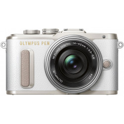 фотоапарат Olympus PEN E-PL8 (бял) + обектив Olympus ZD Micro 14-42mm f/3.5-5.6 EZ ED MSC (сребрист) + обектив Olympus MFT 40-150mm f/4-5.6 R MSC (сребрист)