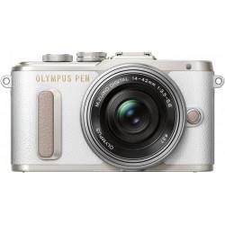 фотоапарат Olympus PEN E-PL8 (бял) + обектив Olympus ZD Micro 14-42mm f/3.5-5.6 EZ ED MSC (сребрист) + обектив Olympus MFT 45mm f/1.8 MSC