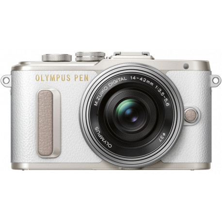 Olympus PEN E-PL8 (бял) + обектив Olympus ZD Micro 14-42mm f/3.5-5.6 EZ ED MSC (сребрист) + обектив Olympus MFT 45mm f/1.8 MSC