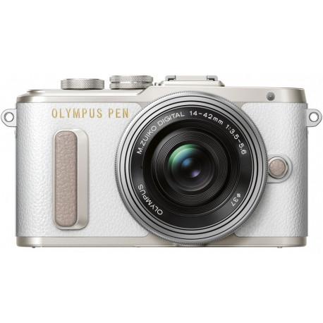 Camera Olympus PEN E-PL8 (White) + Lens Olympus ZD Micro 14-42mm f / 3.5-5.6 EZ ED MSC (Silver)