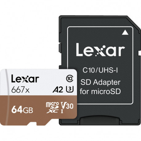 LEXAR PROFESSIONAL MICRO SDXC 64GB 667X UHS-I R:100/W:90MB/S U3 LSDMI64GB667A