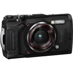 фотоапарат Olympus TG-6 (черен) + аксесоар Olympus CHS-09 Floating Strap (червен)