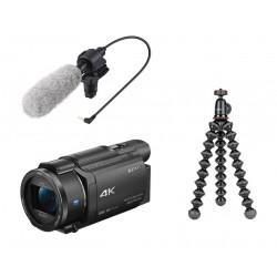 Camcorder Sony FDR-AX53 4K HandyCam + Microphone Sony + Tripod Joby Gorillapod 1K Kit mini tripod