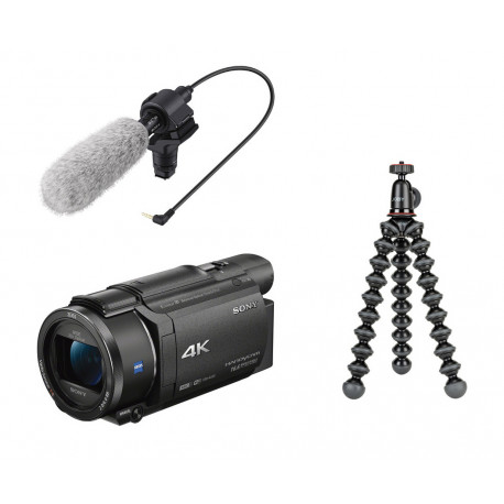 Camcorder Sony FDR-AX53 4K HandyCam + Microphone Sony ECM-CG60 + Tripod Joby Gorillapod 1K Kit mini tripod