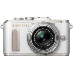 Camera Olympus PEN E-PL8 (White) + Lens Olympus MFT 14-42mm f/3.5-5.6 II R MSC + Strap Olympus Shoulder Strap Get Together