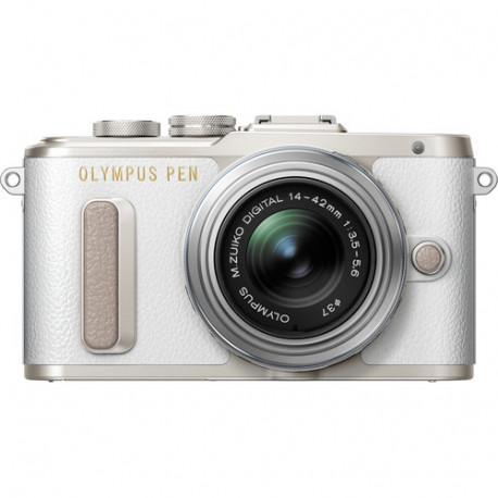 Camera Olympus PEN E-PL8 (White) + Lens Olympus MFT 14-42mm f/3.5-5.6 II R MSC