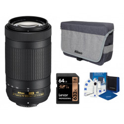 Lens Nikon AF-P DX Nikkor 70-300mm f / 4.5-6.3G ED VR + Bag Nikon DSLR BAG + Memory card Lexar Professional SD 64GB XC 633X 95MB / S + Accessory Zeiss Lens Cleaning Kit Premium