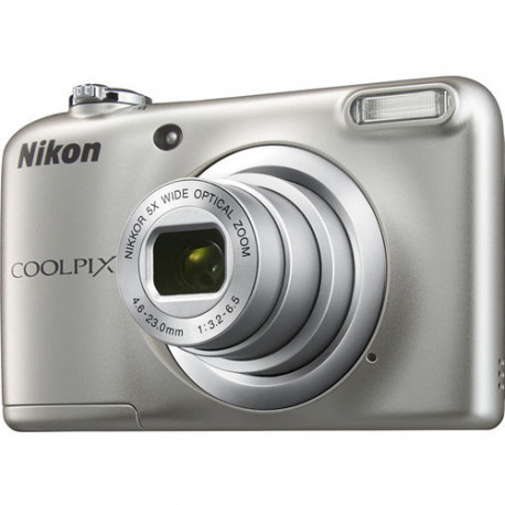 фотоапарат Nikon CoolPix A10 (сребрист) + карта Nikon SDHC 4GB CLASS 6 + зарядно у-во GP Charger + 2xAA 2000 mAh