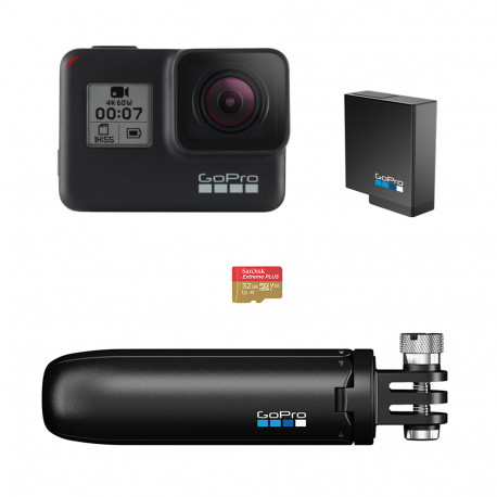 Camera GoPro HERO7 Black + Tripod GoPro Shorty (Mini Extension Pole + Tripod) + Battery GoPro Rechargeable Battery HERO5 Black AABAT-001-EU + Memory card SanDisk 32GB Extreme UHS-I Micro SDHC