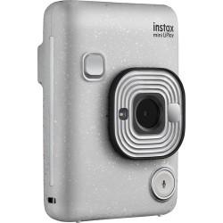 фотоапарат за моментални снимки Fujifilm Instax Mini LiPlay (Stone White) + фото филм Fujifilm Instax Mini ISO 800 Instant Film 10 бр.