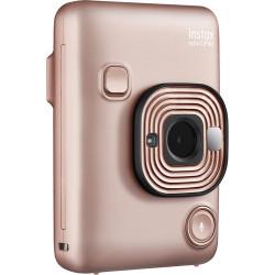 фотоапарат за моментални снимки Fujifilm Instax Mini LiPlay (Blush Gold) + фото филм Fujifilm Instax Mini ISO 800 Instant Film 10 бр.