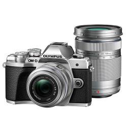 фотоапарат Olympus E-M10 III (сребрист) + обектив Olympus MFT 14-42mm f/3.5-5.6 II R MSC + обектив Olympus MFT 40-150mm f/4-5.6 R MSC (сребрист)