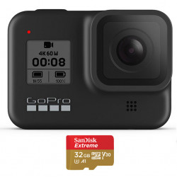 екшън камера GoPro HERO8 Black + карта SanDisk 32GB Extreme UHS-I Micro SDHC + SD Adapter