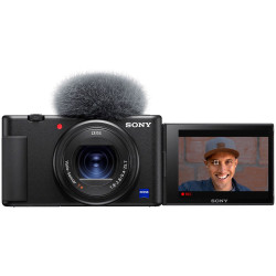 фотоапарат за влогинг Sony ZV-1 + батерия Sony NP-BX1 Li-Ion Battery Pack + аксесоар Sony GP-VPT2BT Shooting Grip with Wireless Remote Commander + микрофон Sony ECM-W2BT