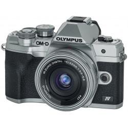 фотоапарат Olympus OM-D E-M10 Mark IV (сребрист) + обектив Olympus ZD Micro 14-42mm f/3.5-5.6 EZ ED MSC (сребрист) + карта SanDisk 32GB Extreme PRO SDHC + батерия Olympus JUPIO BLS-50 BATTERY