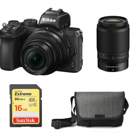 NIKON Z50+16-50 F/3.5-6.3 VR KIT+50-250MM F/4.5-6.3 DX VR+SD 16GB+BAG