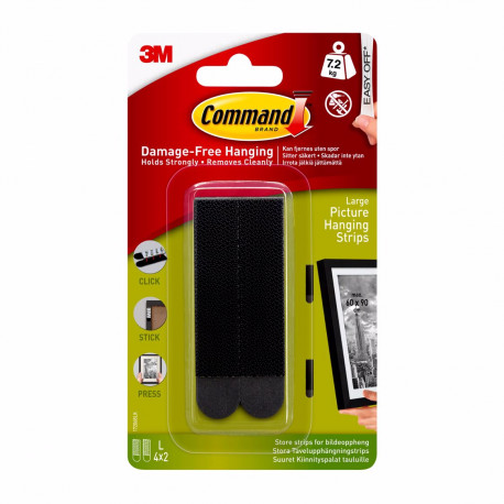 3M Command Picture Hanging Strips Large (black)