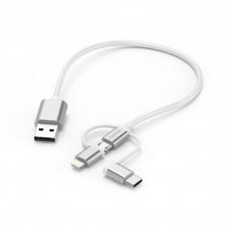 аксесоар Hama 183306 Кабел 3 в 1 (USB-A - Micro USB, Lightning и USB-C) 20 см