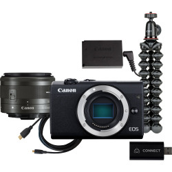 Camera Canon EOS M200 + Canon EF-M 15-45mm Lens + Video Device Atomos Connect 4K + Tripod Joby Gorillapod 1K Kit mini tripod + Charger Canon DR-E12 DC Coupler adapter + Charger Canon CA-PS700 Compact AC Power Adapter