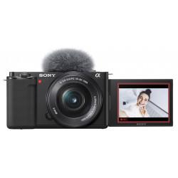 фотоапарат за влогинг Sony ZV-E10 + обектив Sony SEL 16-50mm f/3.5-5.6 PZ + микрофон Sony ECM-W2BT + аксесоар Sony GP-VPT2BT Shooting Grip with Wireless Remote Commander