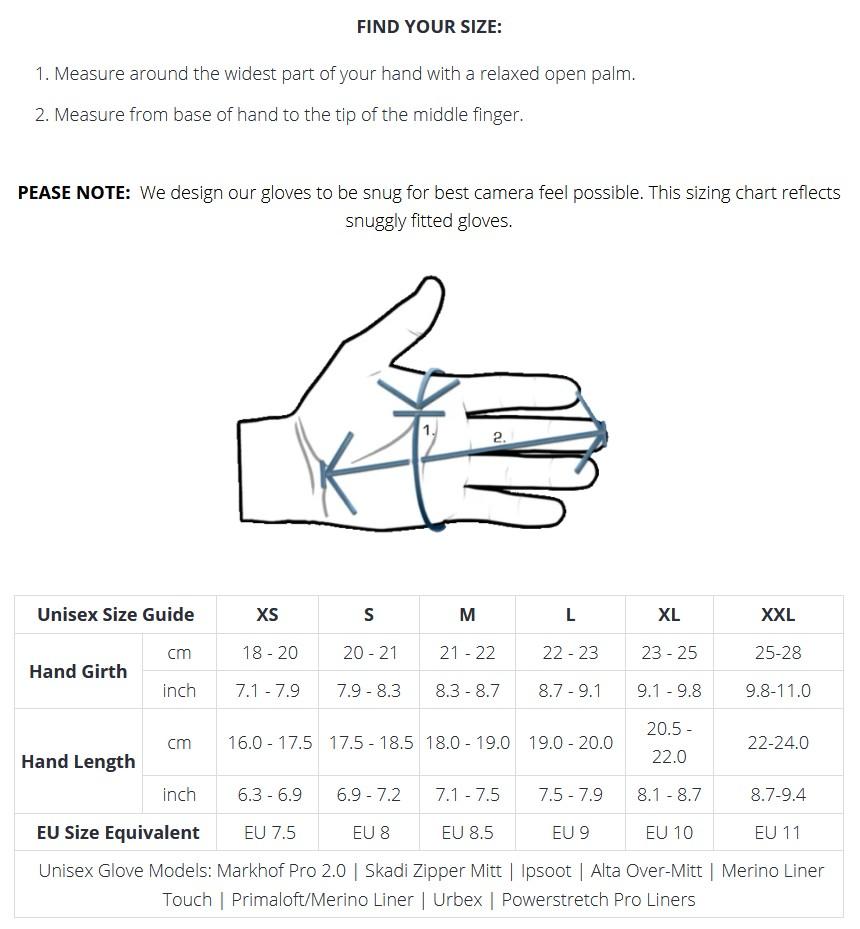 Размери на ръкавици Vallerret